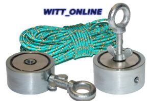 Zeus 2 Bergemagnet Suchmagnet mit 800 Kg Zugkraft + 15 Meter Seil