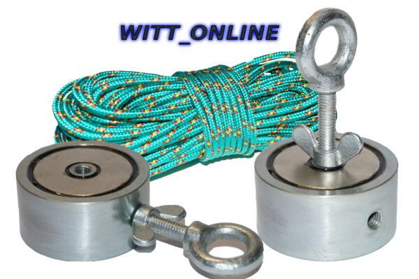 Zeus Bergemagnet Set mit 400Kg Haftkraft + 15 Meter Seil