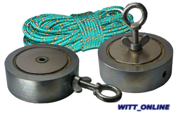 ULTRA ZEUS Bergemagnet Suchmagnet mit 1200 kg Zugkraft + 15 Meter Seil